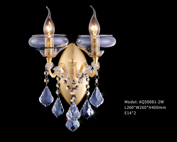 Ocean Blue Glass Plate + Crystal Chandelier - series AQ-50081