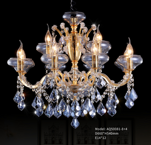 Ocean Blue Glass Plate + Crystal Chandelier - series AQ-50081 - Aglaia lighting