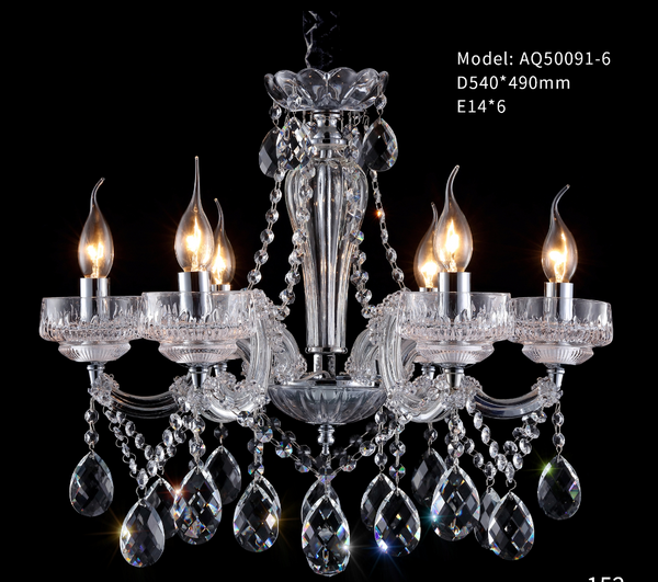 Frosted Glass Plate with Crystal Chandelier - AQ-50091