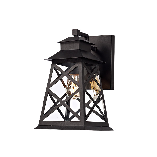 outdoor Wall Light Black Metal Frame + Transparent Glass/ Modern Style/