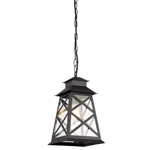 Crossing Line Metal Frame With Transparent Glass outdoor Pendant- 17004C