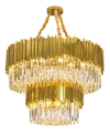 brass castle full filled crystal chandelier double layer