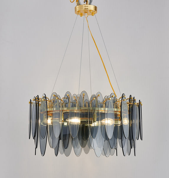 ADAM ROUND GLASS CHANDELIER - SMOKE GREY - Aglaia lighting