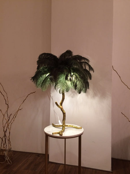 Solid Brass Feathers Table Lamp / With Different Colour Options - Aglaia lighting
