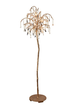 Solid Brass Floor Lamp Dress with Quartz Crystal