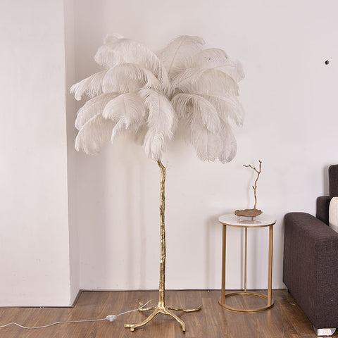 Solid Brass Feathers Floor Lamp / White and Pink
