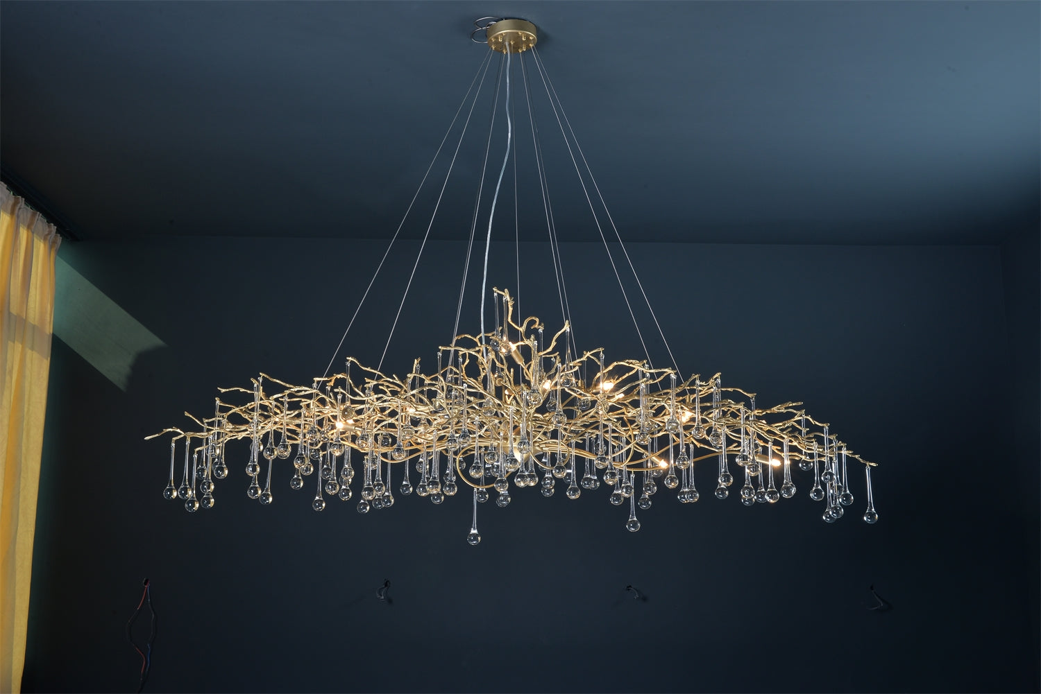 Solid Brass Branches Chandelier - Long Size - Aglaia lighting