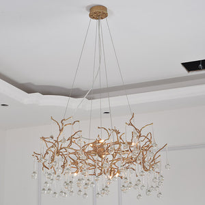 Small drop Brass chandelier