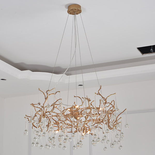 Small drop Brass chandelier - Aglaia lighting