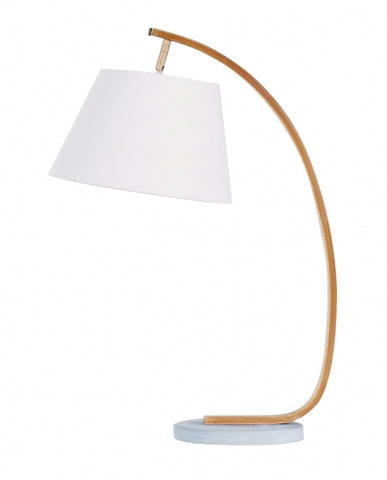 (Back in stock in 2-3 Weeks) Rooii Modern white + wood table lamp