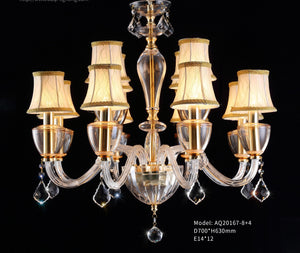 Champion Gold Body Fabric Shade Crystal Chandelier 12 lights