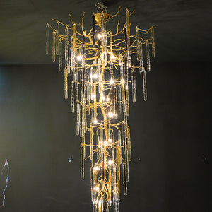 Crystal Brass Stalactite / Staircase Chandelier - Aglaia lighting
