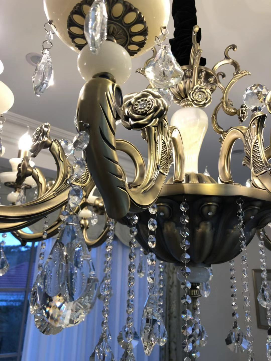 crystal chandelier / StairCass / High ceiling / Long Chandelier / Crystal Chandelier / melbourne chandelier / K9 Crystla / Sovosiky Chandelier / 8 Arms Chandelier / 6 Arms/ arms / Candles / Crystal Chandelier Extra large / Jade and Crystal Chandelier