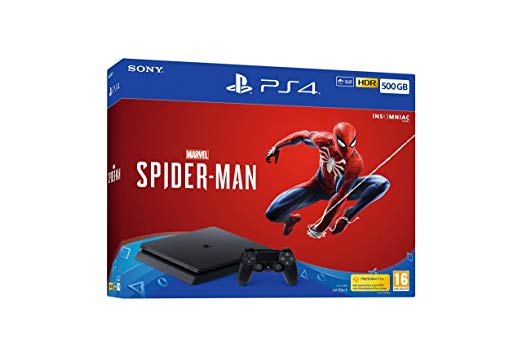 Sony PlayStation 4 (PS4 Slim) 500GB with 1pc Wireless Controller (A region Blu-ray) with Marvel's Spider-Man Standard Edition [Game: English Only] - Jet Black - SmartX Direct