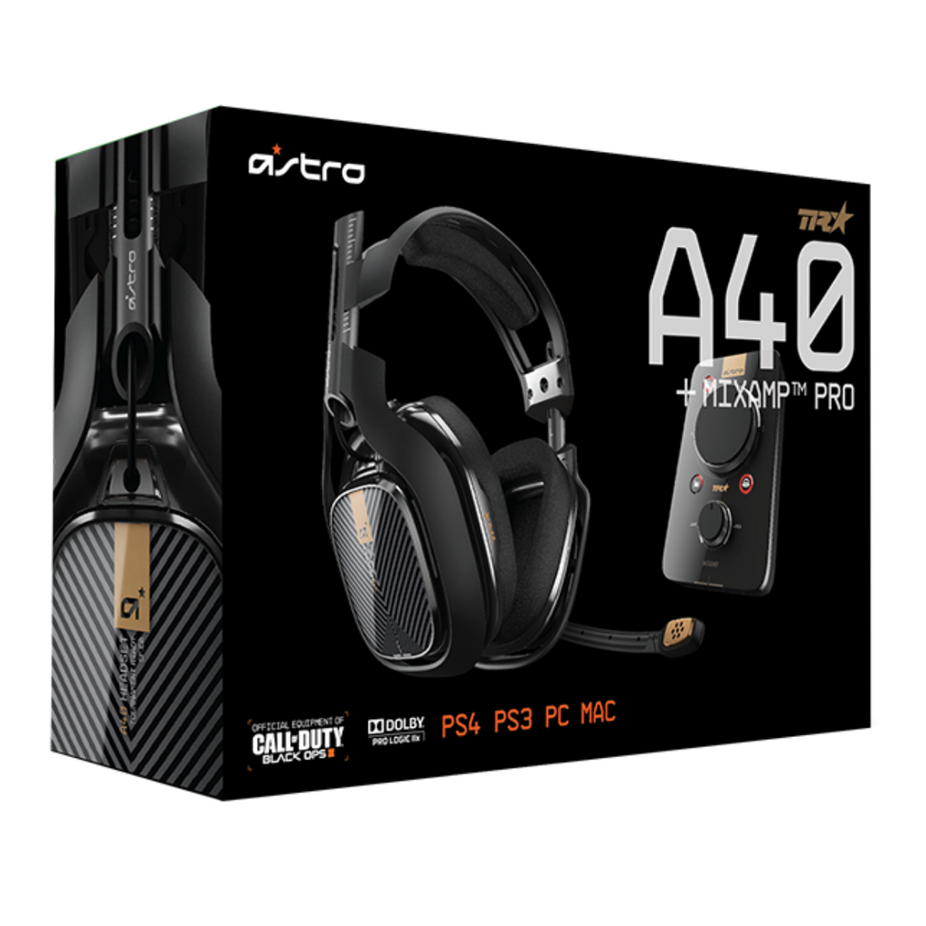 Astro A40 TR Gaming Headset + MixAmp Pro TR for PS4, PC, MAC, Switch - Black - SmartX Direct