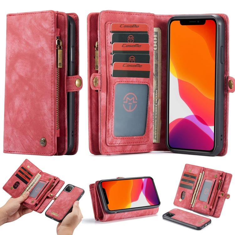 iPhone 11 CaseMe-008 Detachable Multifunctional Horizontal Flip Leather Case with Card Slot & Holder & Zipper Wallet & Photo Frame For iPhone 11(Pink)