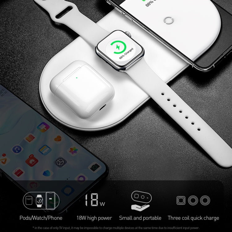 Baseus 18W 3 In 1 Multi-function Smart Wireless Charger for iPhone / Apple Watch / Airpods(White)