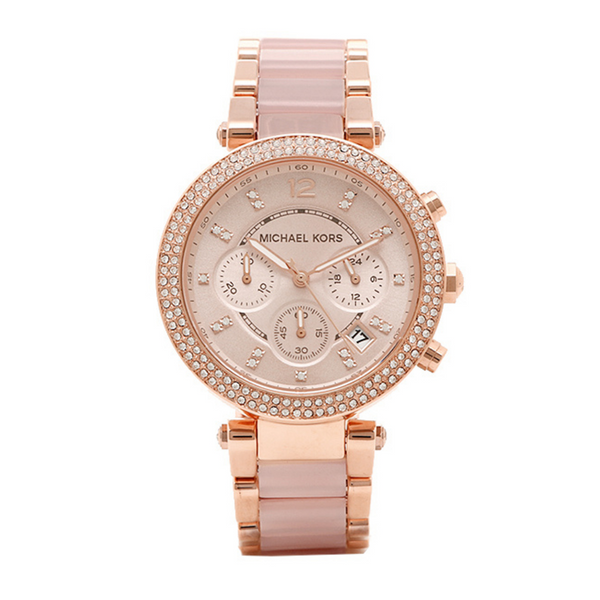 Michael Kors Parker Chronograph Watch MK5896 Two Tone Rose Gold Ladies Watch