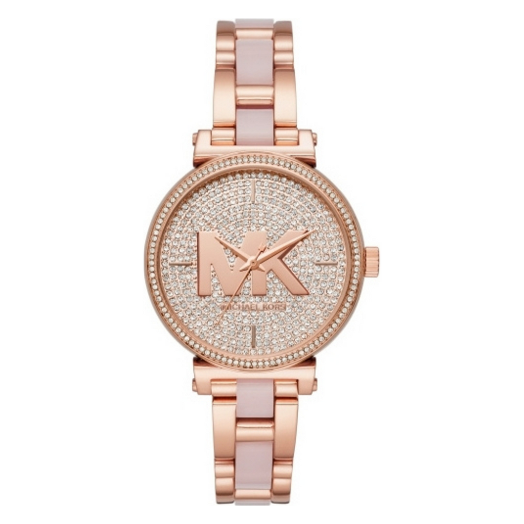 Michael Kors MK4336 Ladies Sofie Rose Gold Plated Crystal Set Dial Pink Bracelet Watch