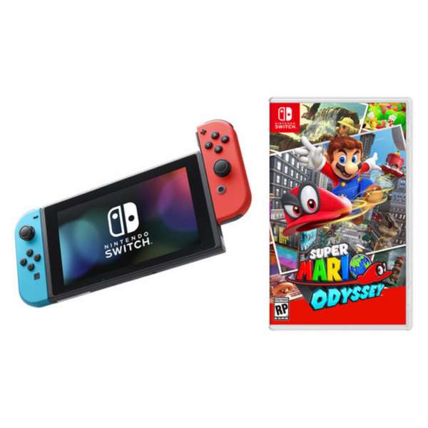 Nintendo Switch (Neon Blue and Neon Red Joy‑Con) with Super Mario Odyssey - SmartX Direct