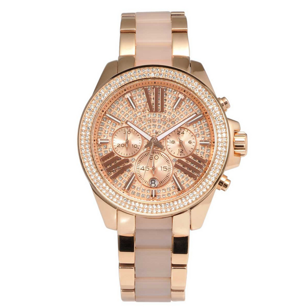 Michael Kors Mk6096 Rose Gold Pave Crystals Wren Chronograph Ladies Watch - SmartX Direct
