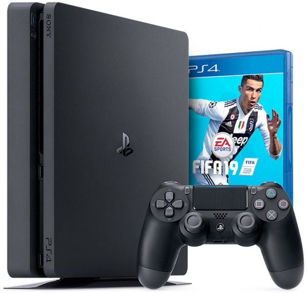 Sony PlayStation 4 (PS4 Slim) 500GB with 1pc Wireless Controller (A region Blu-ray) with FIFA 19 Standard Edition [Game: English Only] - Jet Black - SmartX Direct