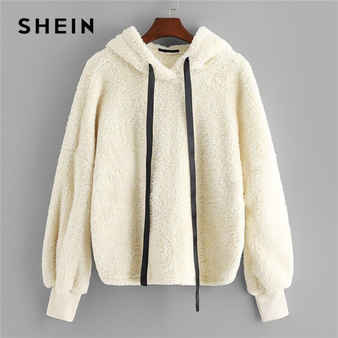 SHEIN Beige Preppy Elegant Faux Fur Fluffy Teddy Regular Fit Solid Hoodie Pullovers 2018 Autumn Casual Campus Women Sweatshirt