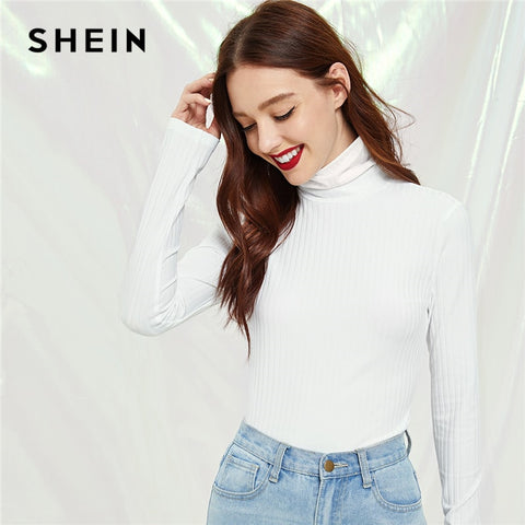 SHEIN Workwear White High Neck Rib Knit Pullovers Plain T-shirt 2018 Autumn Women Casual Slim Fit Long Sleeve T-shirt Top