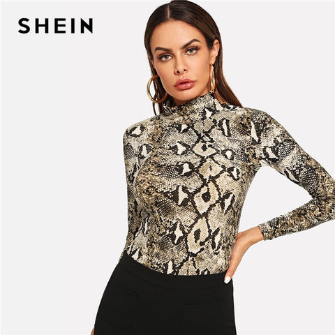 SHEIN Multicolor Elegant Office Lady High Neck Snakeskin Print Skinny Long Sleeve Tee Autumn Workwear Women Tshirt And Top