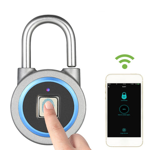 BT Fingerprint Smart Keyless Lock Waterproof APP / Fingerprint Unlock Anti-Theft Padlock Door Luggage Case Lock for Android iOS System--Blue
