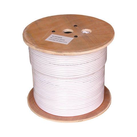 1000Ft RG6 Bare Copper CMP (Plenum) Quad Shield Coax Cable White