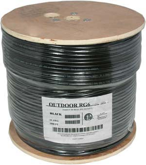 1000Ft RG6 CCS Quad Shield Direct Burrial Outdoor Cable