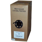 1000Ft RG6 CMR CCS Quad Shield Coax Cable Black CMR
