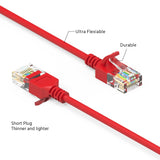 1.5Ft Cat6A UTP Slim Ethernet Network Booted Cable 28AWG Red
