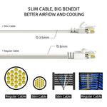 3Ft Cat6A UTP Slim Ethernet Network Booted Cable 28AWG White