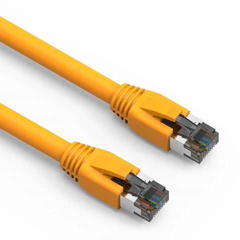 7Ft Cat.8 S/FTP Ethernet Network Cable 2GHz 40G Yellow 24AWG