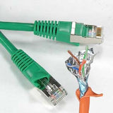 2Ft Cat5E Shielded (FTP) Ethernet Network Booted Cable Green