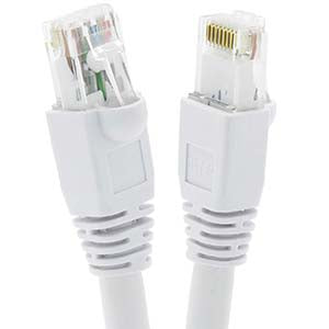 50Ft Cat6A UTP Ethernet Network Booted Cable White