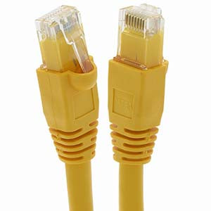 1Ft Cat6A UTP Ethernet Network Booted Cable Yellow