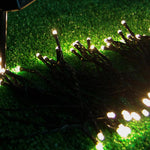100LED 10-Meter (32Ft) Warm White 2-Mode Solar String Light Green Jacket