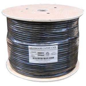 1000Ft Cat.6 UTP Direct Burial Outdoor Cable Black