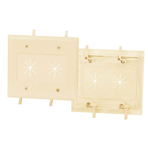 Cable Plate with Flexible Opening 2-Gang Ivory