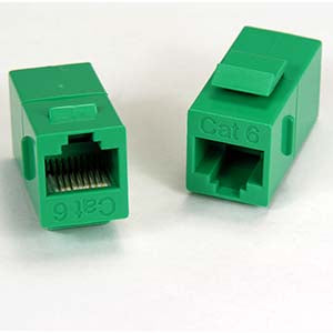 Cat.6 Inline Coupler w/Keystone Latch Green