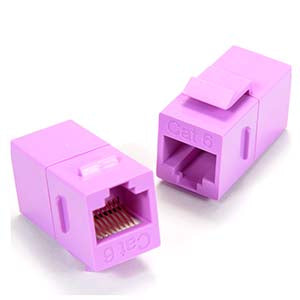 Cat.6 Inline Coupler w/Keystone Latch Purple