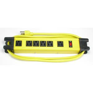 6Ft Heavy Duty Metal Case Power Strip, 4 + 2 Power Supply