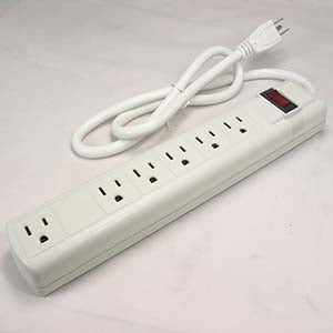 3Ft 6-Outlet Perpendicular Surge Protector 14AWG/3, 15A 90J