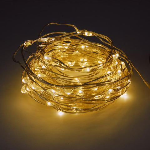 120L Mini LED 2-Meter 6-Strip Warm-Color Multi-Mode String Light (3 x AA Battery)
