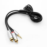 1Ft 3.5mm Stereo Plug to 2xRCA Male Premium Audio Cable