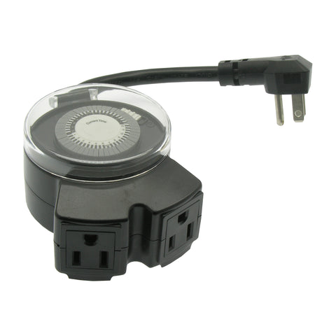 Outdoor Mechanical Timer 2-Outlet 3-Prong