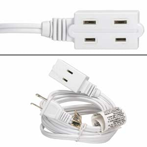 15Ft 3-Outlet Power Extension Cord White 16AWG/2